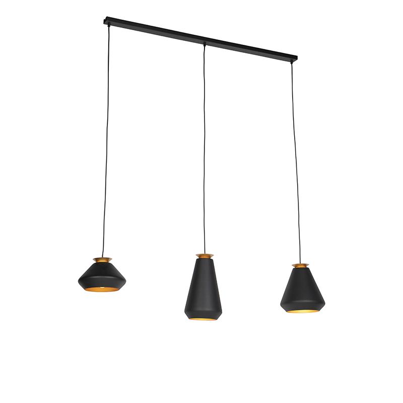 Hanglamp 3-lichts Zwart Met Gouden Binnenkant Op 120cm Balk - Mia