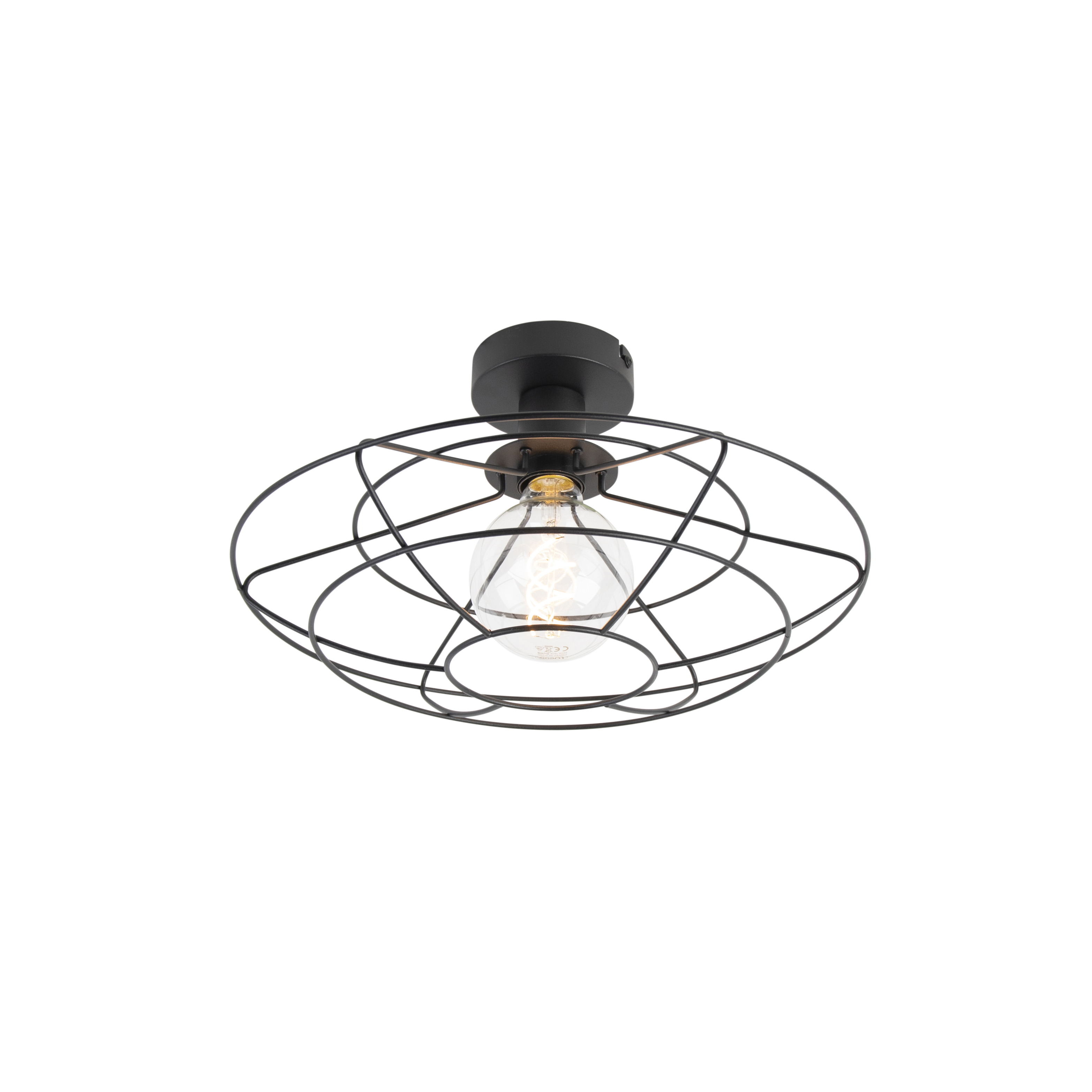 Vintage draadlamp 37cm plafond zwart - Laurent