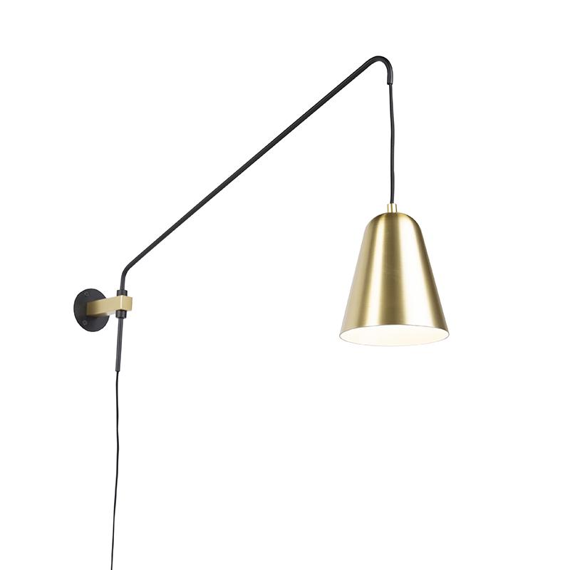 Retro wandlamp goud/messing met kap - Demi