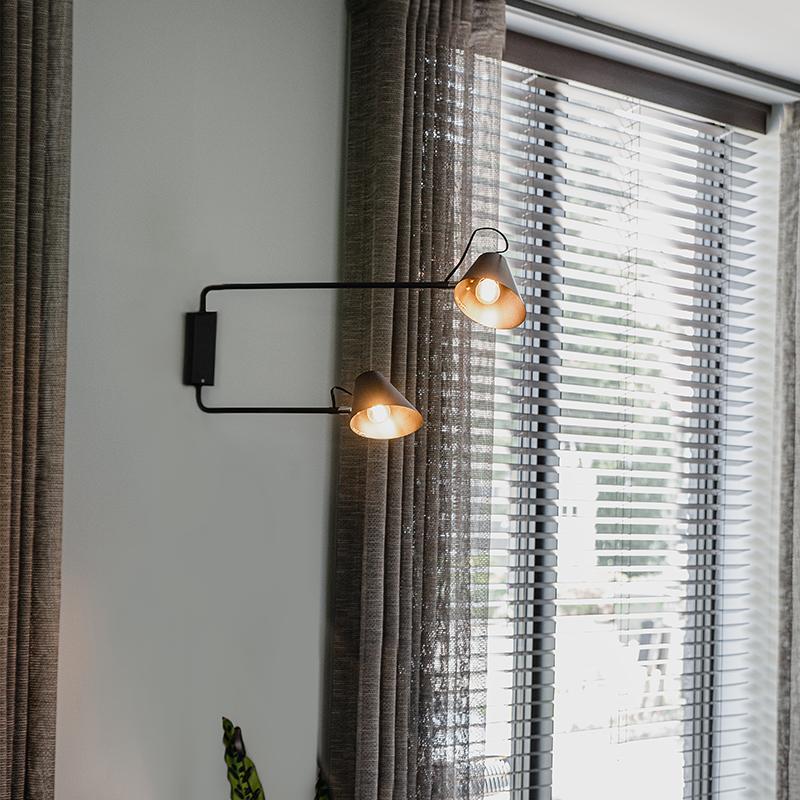 Design wandlamp zwart 2-lichts verstelbaar - Lune