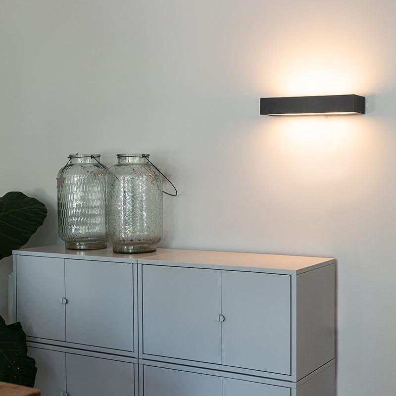 Design langwerpige wandlamp zwart 35 cm - Houx