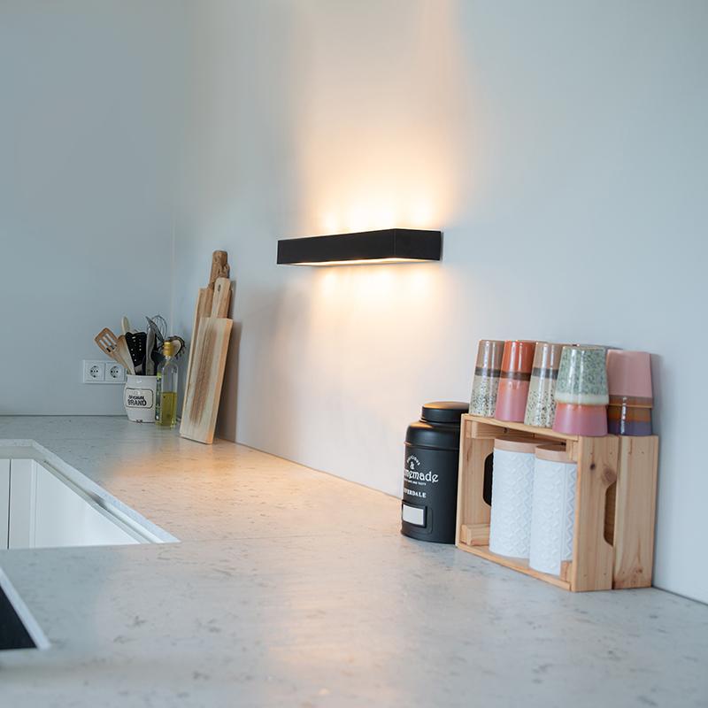 Design langwerpige wandlamp zwart 60 cm - Houx
