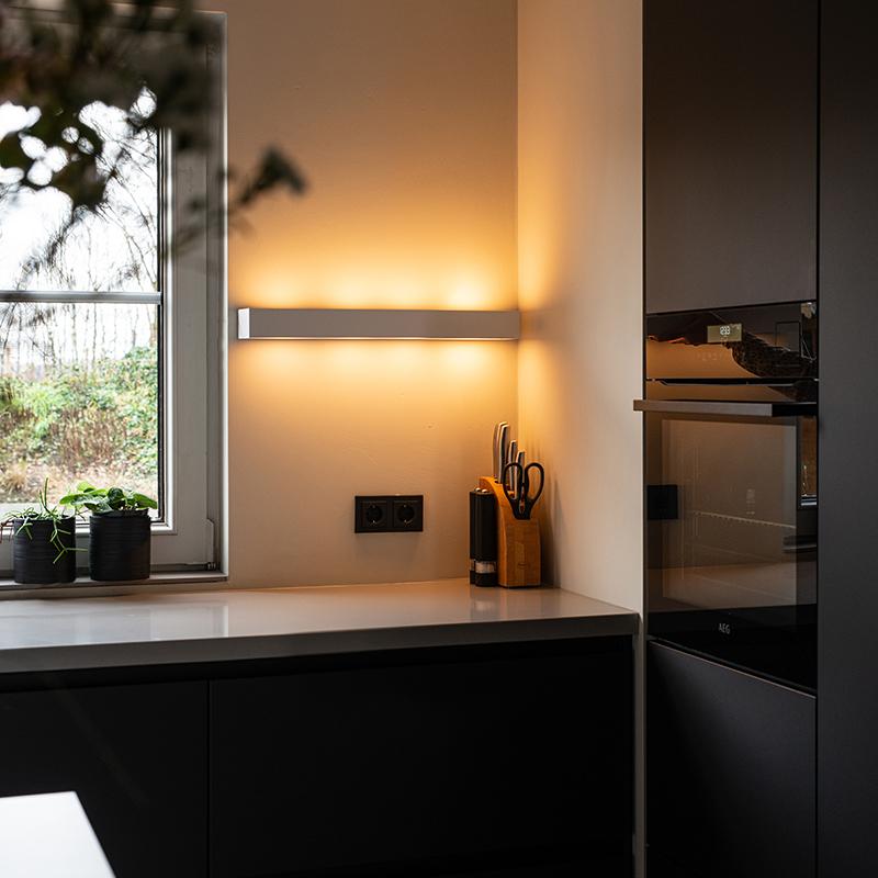 Design langwerpige wandlamp wit 60 cm - Houx