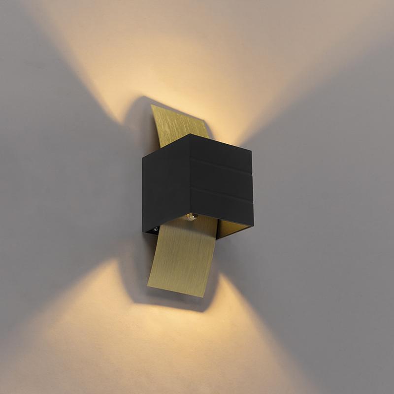 Design wandlamp zwart met goud - Amy