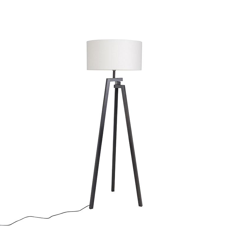 Design vloerlamp driepoot zwart hout met witte kap - Cortina
