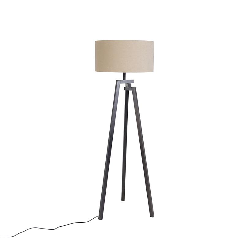 Design vloerlamp driepoot zwart hout met koffiekleurige kap - Cortina