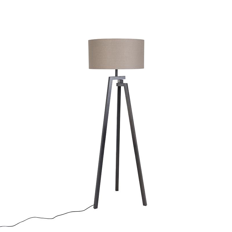 Design vloerlamp driepoot zwart hout met grijze kap - Cortina