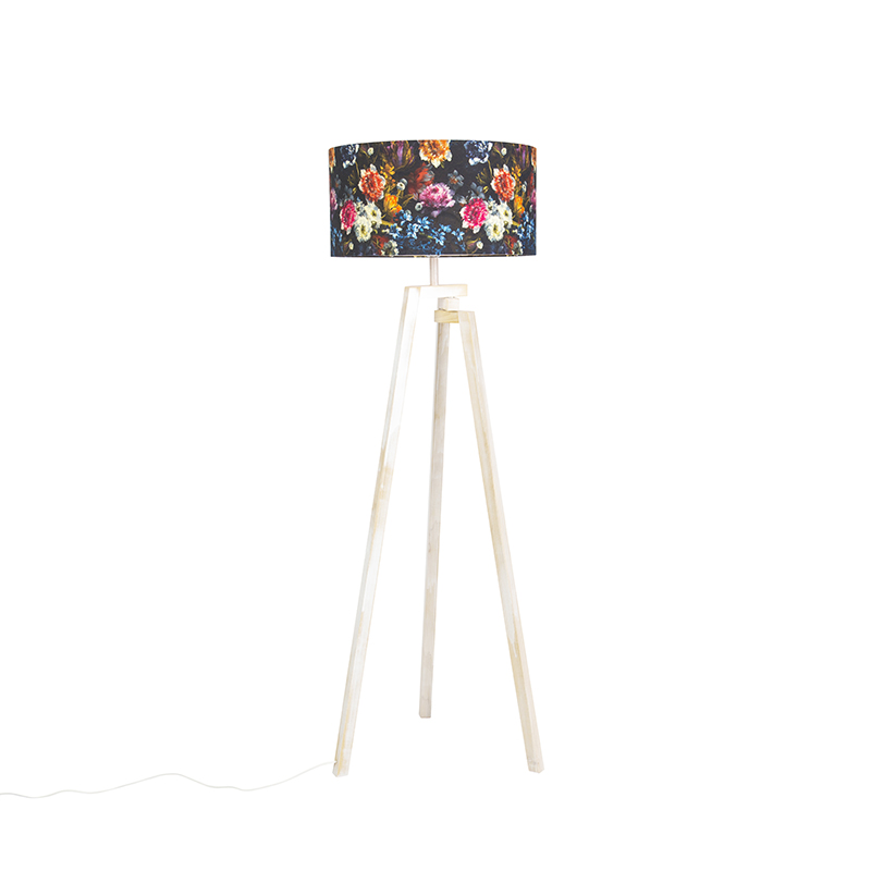 Design vloerlamp driepoot wit hout met flora kap - Cortina