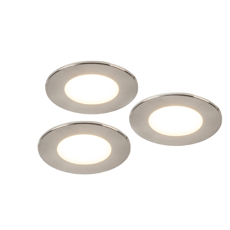 Set van 3 inbouwspots rond staal incl. LED IP65 - Simply