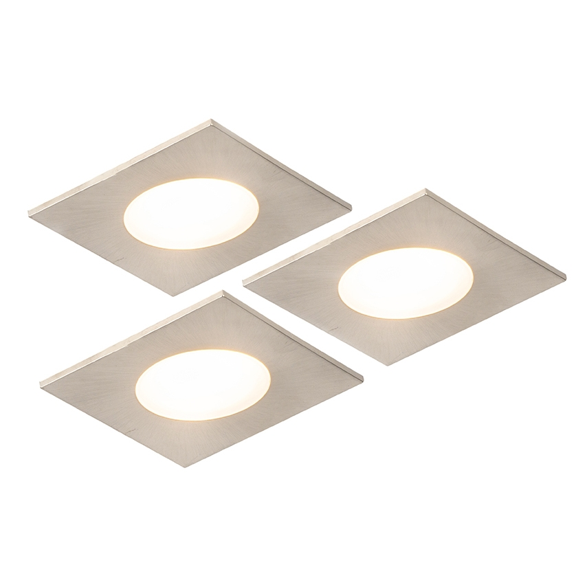 Set van 3 inbouwspots vierkant staal incl. LED IP65 - Simply