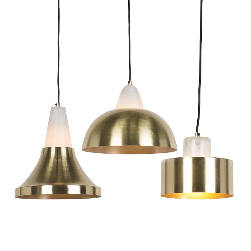 Set van 3 hanglampen messing met marmer - Albasta