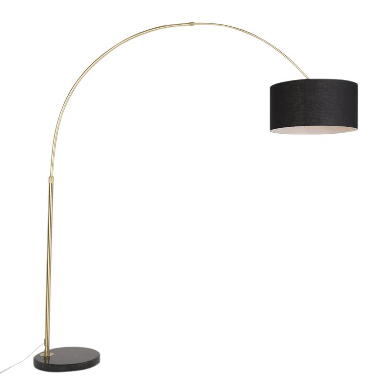 Klassieke booglamp mat messing met kap zwart - Marbello
