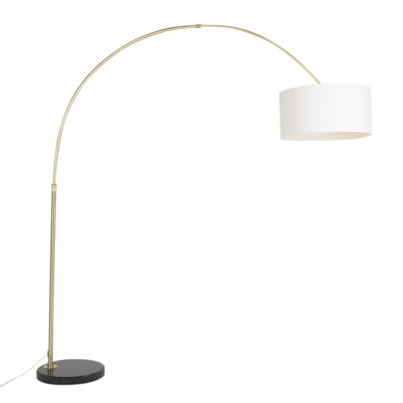 Klassieke booglamp mat messing met kap off white - Marbello