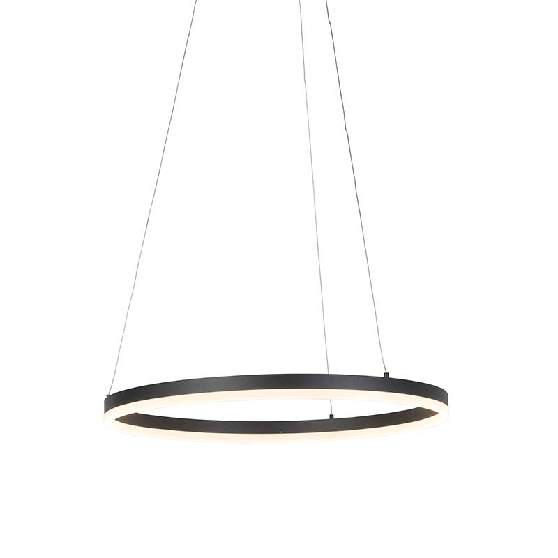 Moderne ring hanglamp zwart 60 cm incl. LED en dimmer - Anello