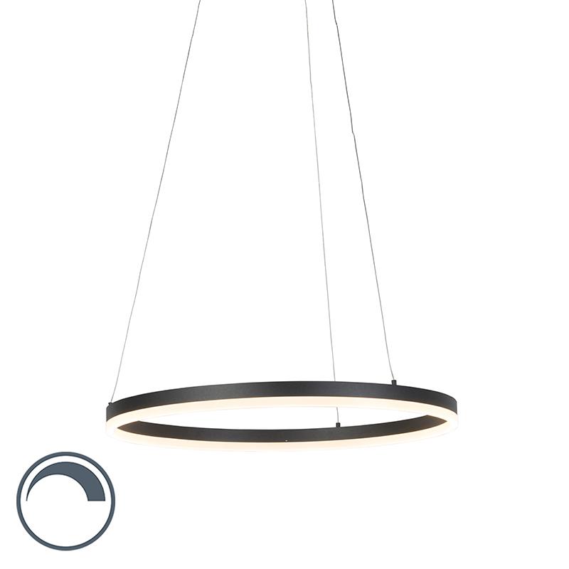 Nowoczesna lampa wisząca pierścień czarna 60 cm LED ściemnialna - Anello