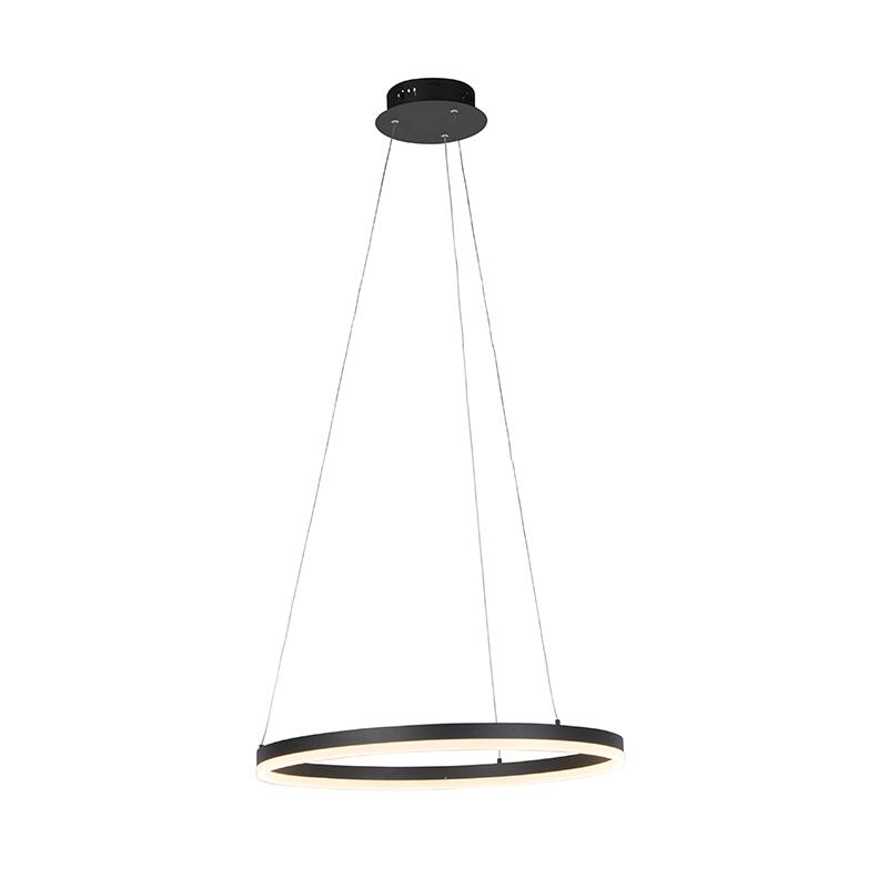Moderne ring hanglamp zwart 60cm incl. LED en dimmer – Anello