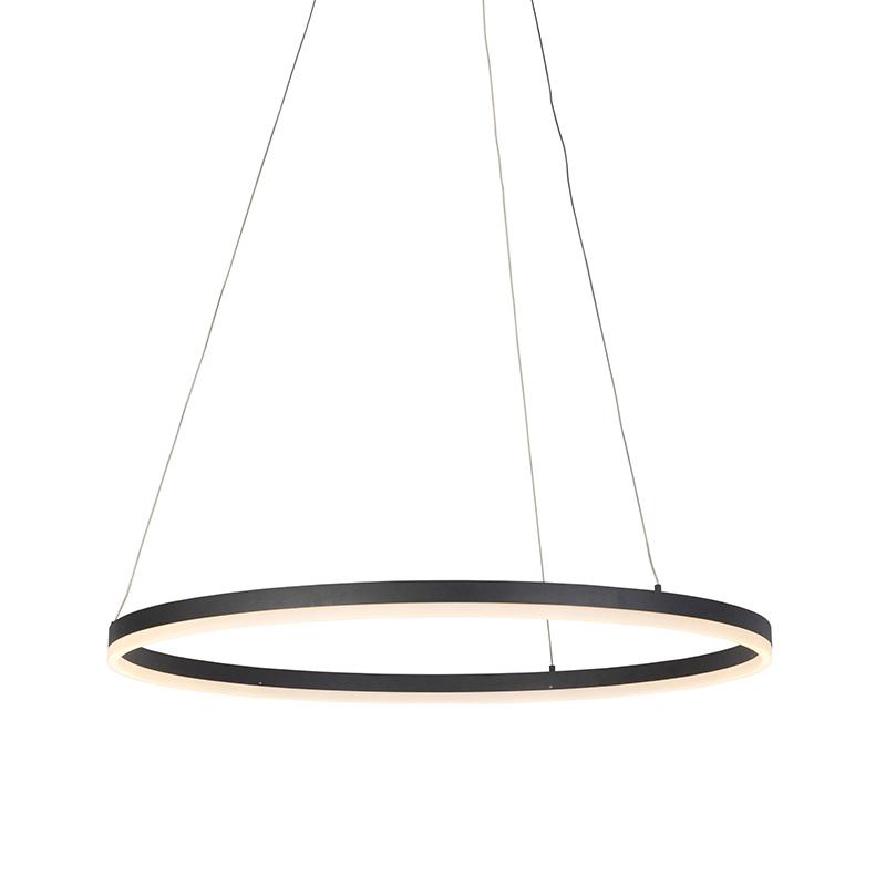 Moderne ring hanglamp zwart 80 cm incl. LED en dimmer - Anello