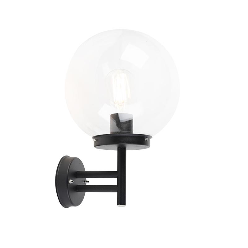 Moderne buitenwandlamp zwart met heldere bol - Sfera