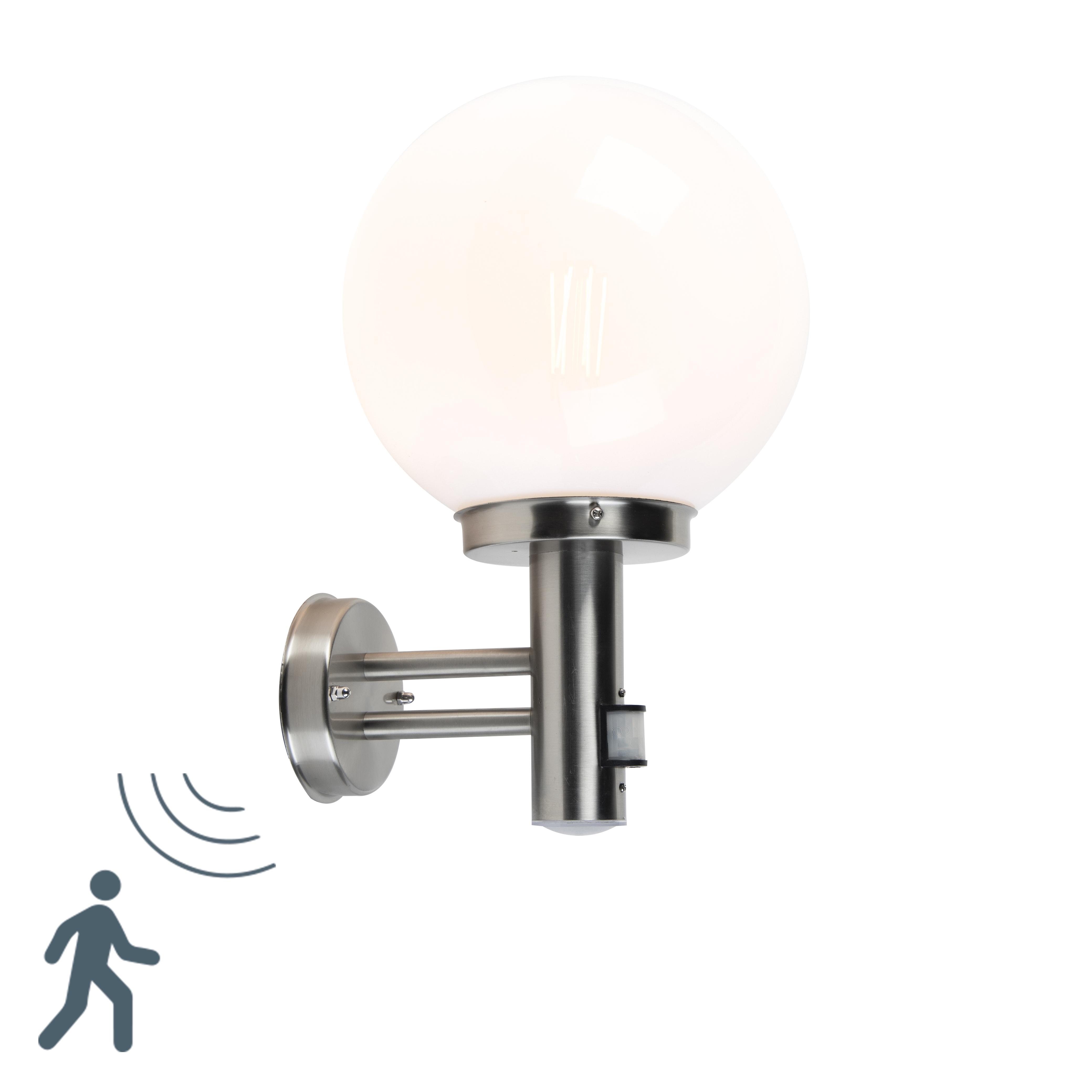Moderne Buitenwandlamp Rvs Met Opaal Bol En Bewegingsmelder - Sfera