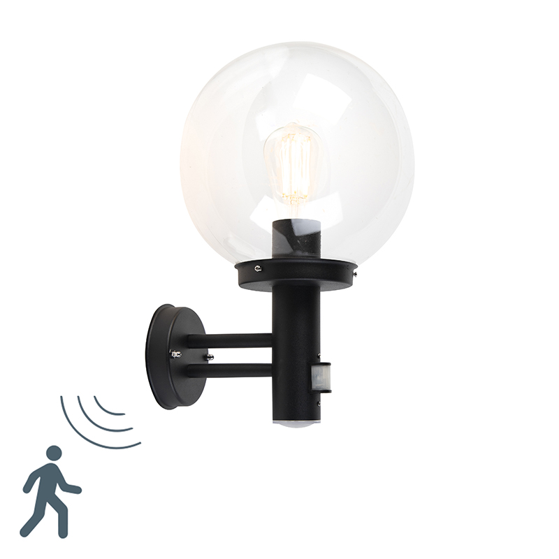 Moderne buitenwandlamp zwart met heldere bol en bewegingsmelder - Sfera