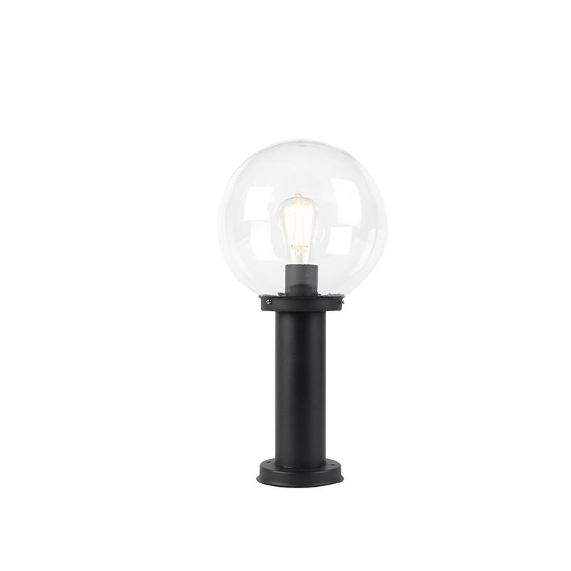 Moderne Buitenlamp Zwart 50cm Heldere Bol - Sfera