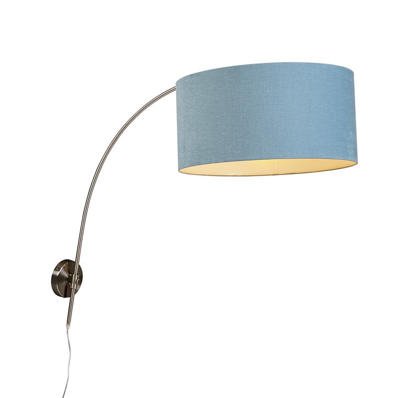 Wandbooglamp staal met kap blauw 50/50/25 verstelbaar