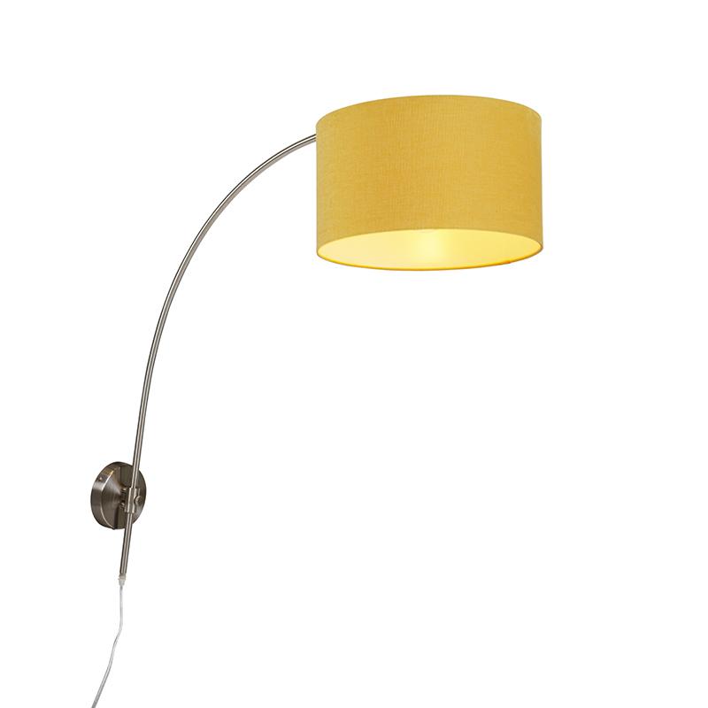 Wandbooglamp staal met kap geel 35/35/20 verstelbaar