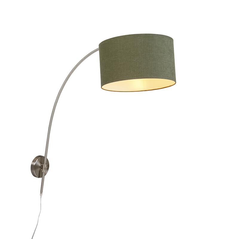 Stalowa kinkietowa lampa łukowa z abażurem w kolorze zielonym 35/35/20 z regulacją