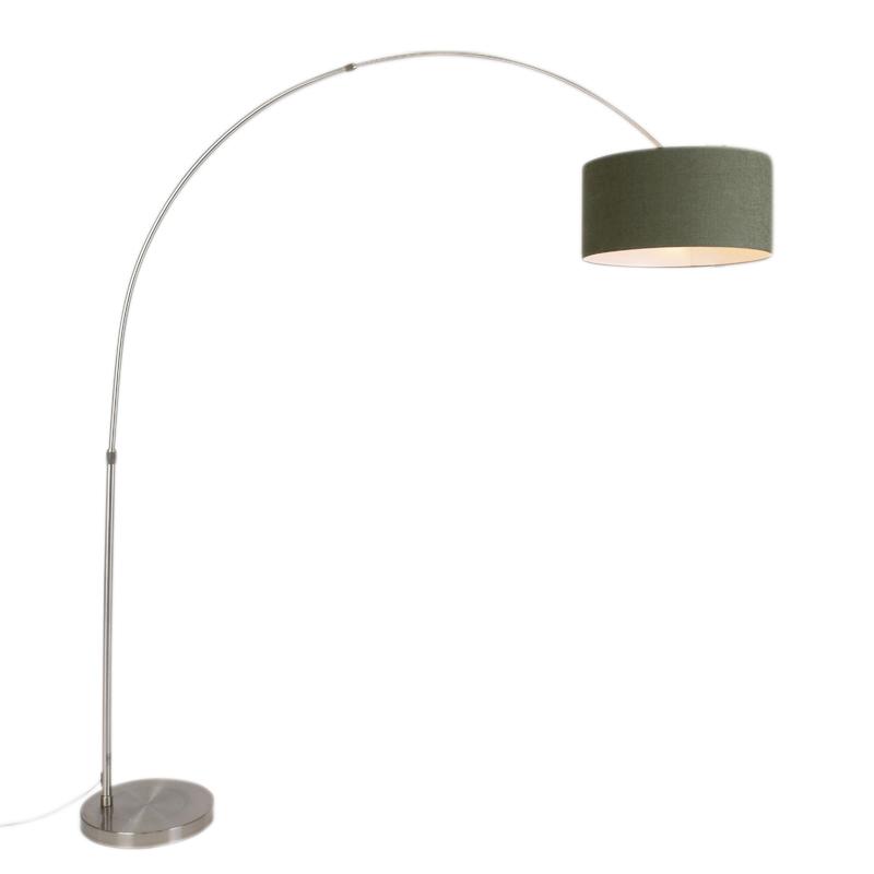 Moderne booglamp staal met kap 50/50/25 mos groen