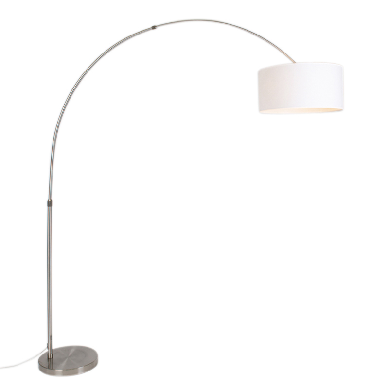Moderne booglamp staal met kap 50/50/25 wit verstelbaar