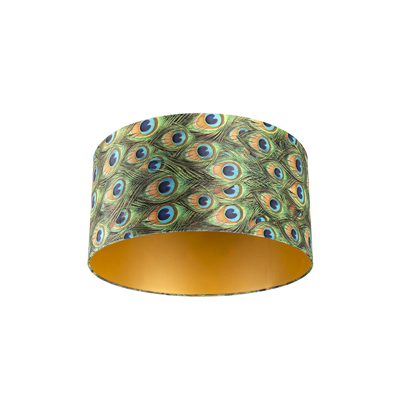 Lampenkap velours 50/50/25 pauw - goud