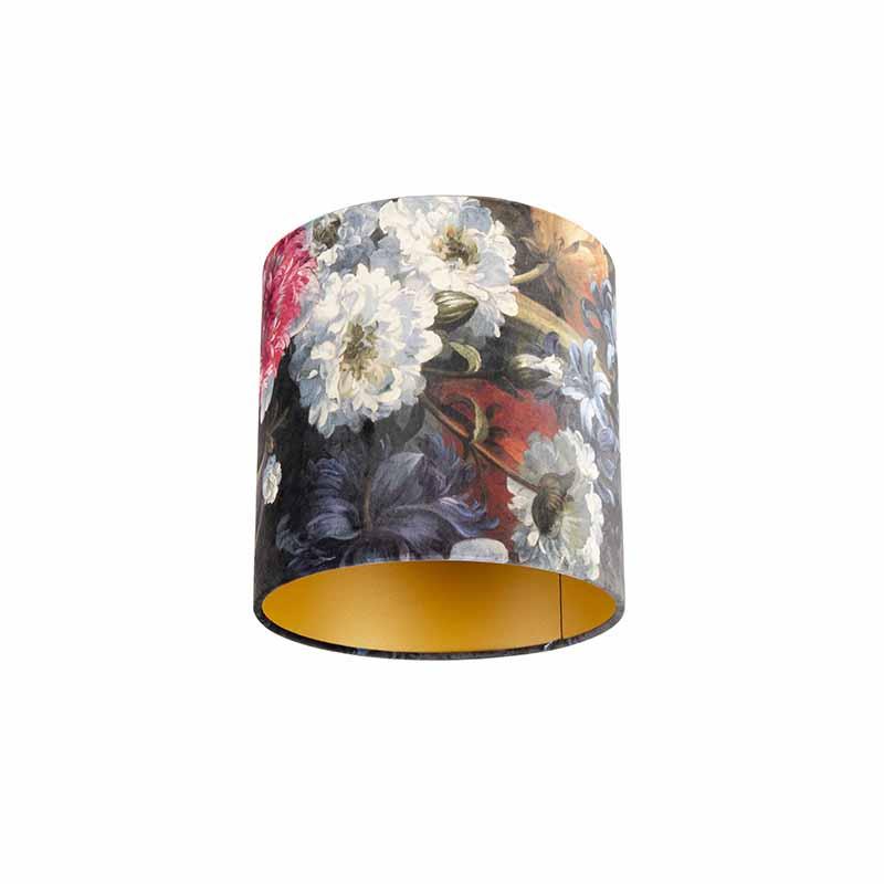 Lampenkap velours 25/25/25 bloemen - goud