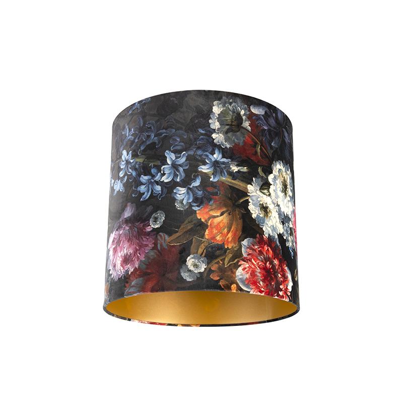 Lampenkap velours 40/40/40 bloemen - goud