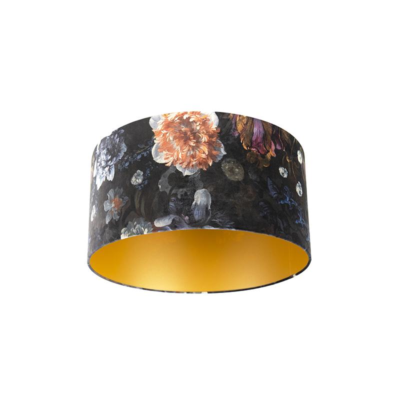Velours lampenkap bloemen dessin 50/50/25 gouden binnenkant