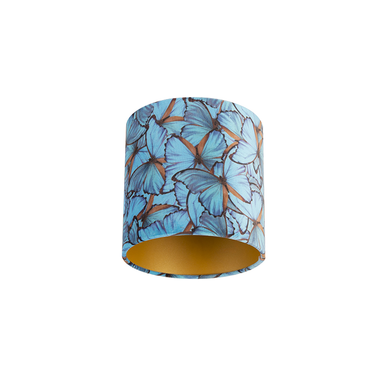 Velours lampenkap vlinder dessin 20/20/20 gouden binnenkant