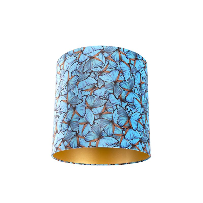 Velours lampenkap vlinder dessin 40/40/40 gouden binnenkant
