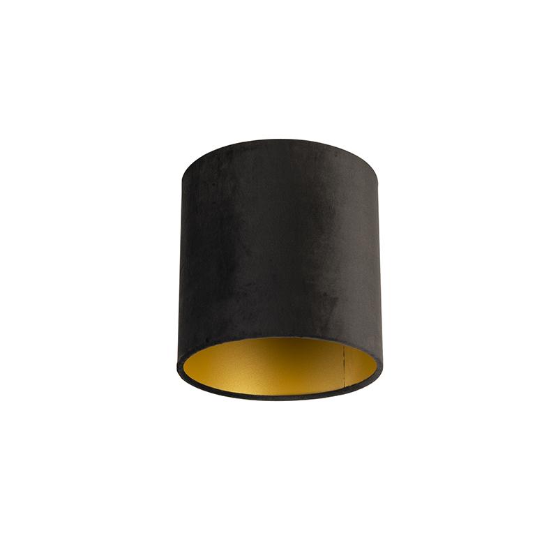 Velours lampenkap zwart 20/20/20 met gouden binnenkant