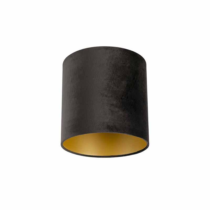 Lampenkap velours 25/25/25 zwart - goud