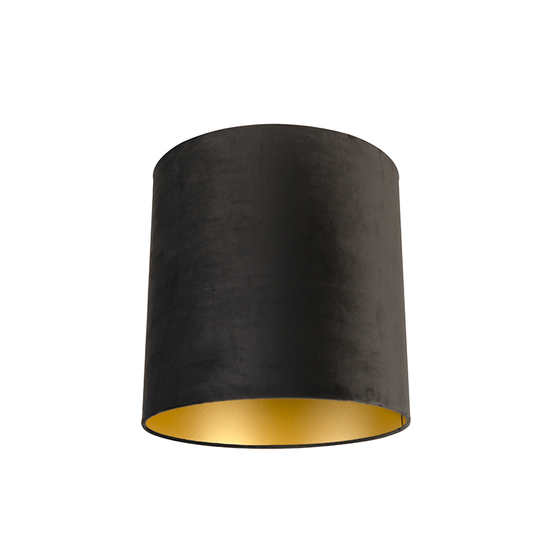 Velours lampenkap zwart 40/40/40 met gouden binnenkant