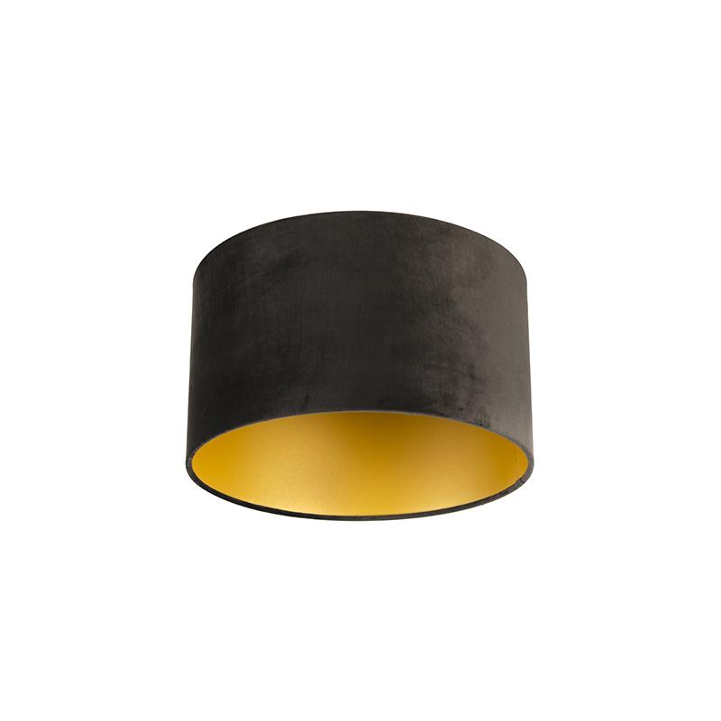 Lampenkap velours 35/35/20 zwart - goud