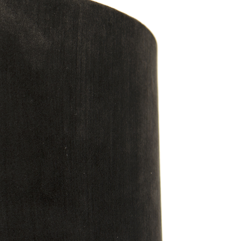 Velours lampenkap zwart 35/35/20 met gouden binnenkant