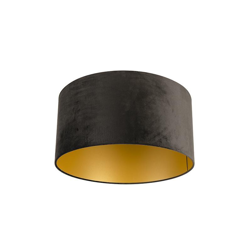 Lampenkap velours 50/50/25 zwart - goud
