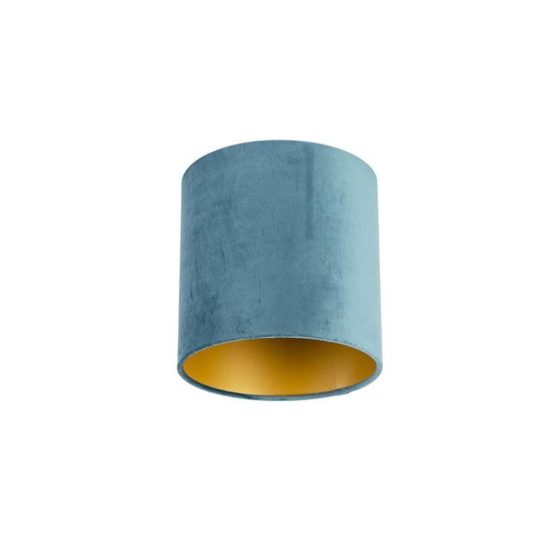 Velours lampenkap blauw 20/20/20 met gouden binnenkant