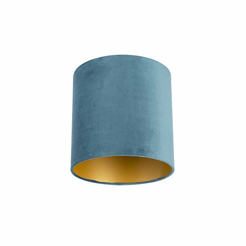 Velours lampenkap blauw 25/25/25 met gouden binnenkant