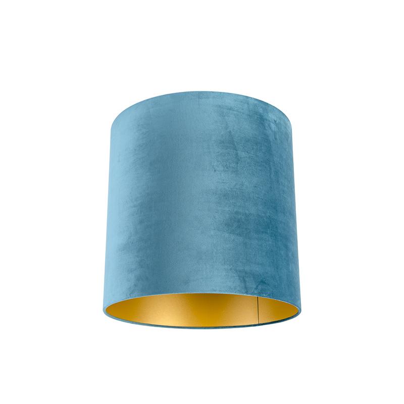 Lampenkap velours 40/40/40 blauw - goud