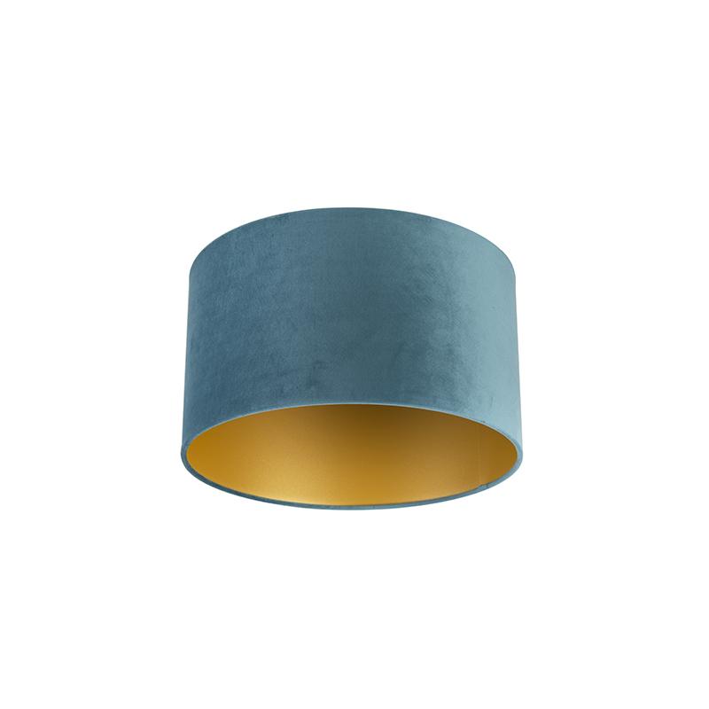 Velours lampenkap blauw 35/35/20 met gouden binnenkant