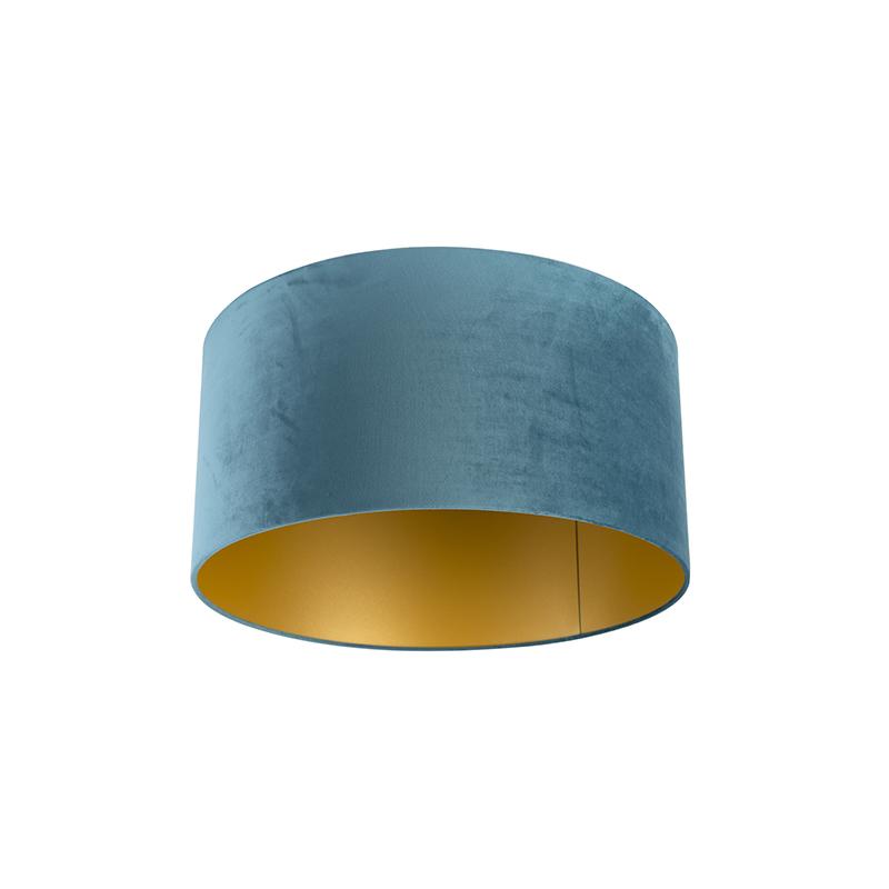 Lampenkap velours 50/50/25 blauw - goud
