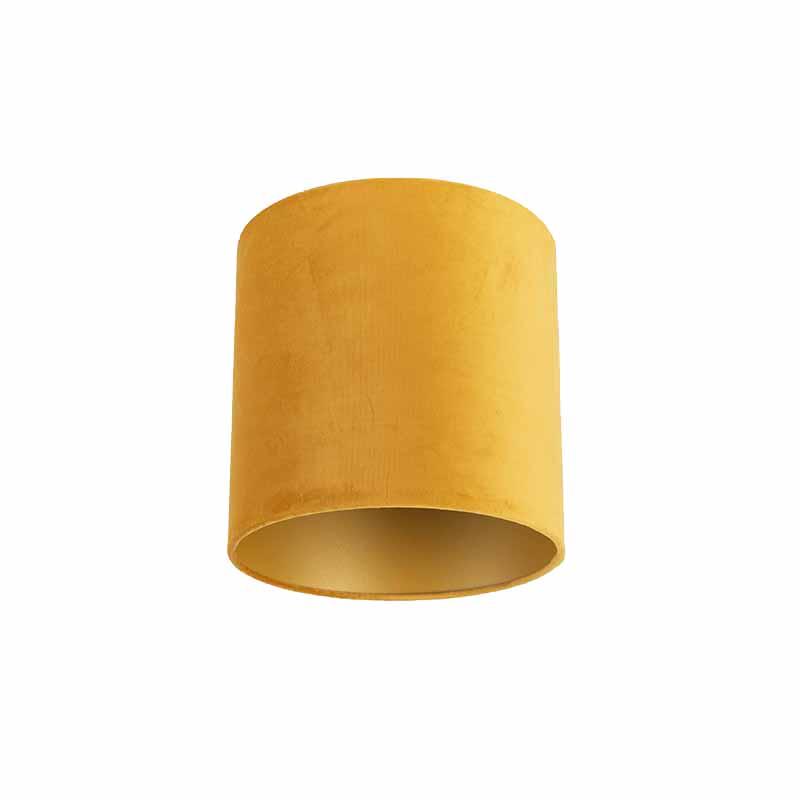 Velours lampenkap geel 25/25/25 met gouden binnenkant