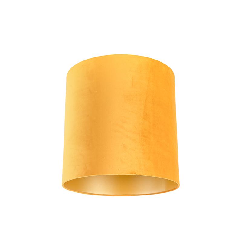Velours lampenkap geel 40/40/40 met gouden binnenkant