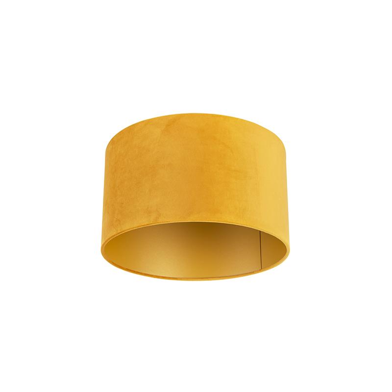 Velours lampenkap geel 35/35/20 met gouden binnenkant
